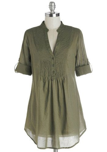 Back Road Ramble Top in Olive - Green, Solid, Buttons, Casual, Good, Long, Cotton, Woven, Boho, 3/4 Sleeve, Variation