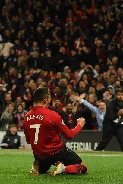 b68e39359 Manchester United s Chilean striker Alexis Sanchez celebrates after scoring  the team s third goal during the English Premier League football match.