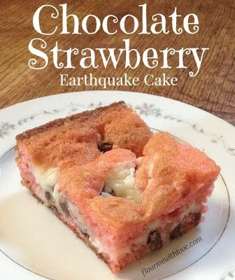 Chocolate, strawberry & cream cheese baked into a delicious earthquake cake!