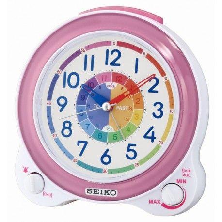 Ce réveil enfant de couleur blanc nacré et rose, est silencieux grâce à sa trotteuse silencieuse à mouvement continu.