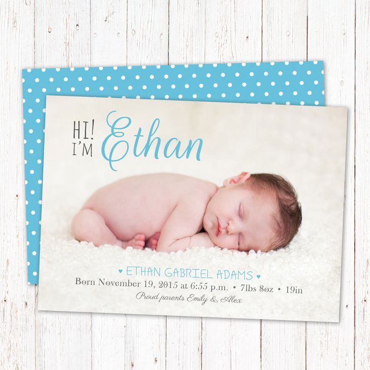 Personalized birth announcement card. Digital baby boy announcement card. Custom high quality design ready to print. Digital file. by GraphicCorner on Etsy