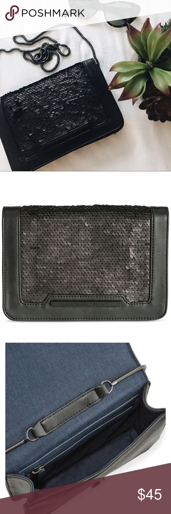 NWOT French connection matte black Brand new! Never used. All sequins are still in tact. The picture I just realized has the sequins flipped up but I promise they are all there in perfect condition! They are a matte black and the clutch is black leather. A hidden strap that is a slinky metal can be worn in the bag for a clutch style or outside the bag as a cross body!  23'' drop and magnetic snap closure French Connection Bags Clutches & Wristlets