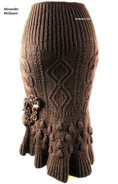 Вязаная юбка спицами от Alexander McQueen #ВязаниеСпицами http://mslanavi.com/2016/03/vyazanaya-yubka-spicami-ot-alexander-mcqueen/