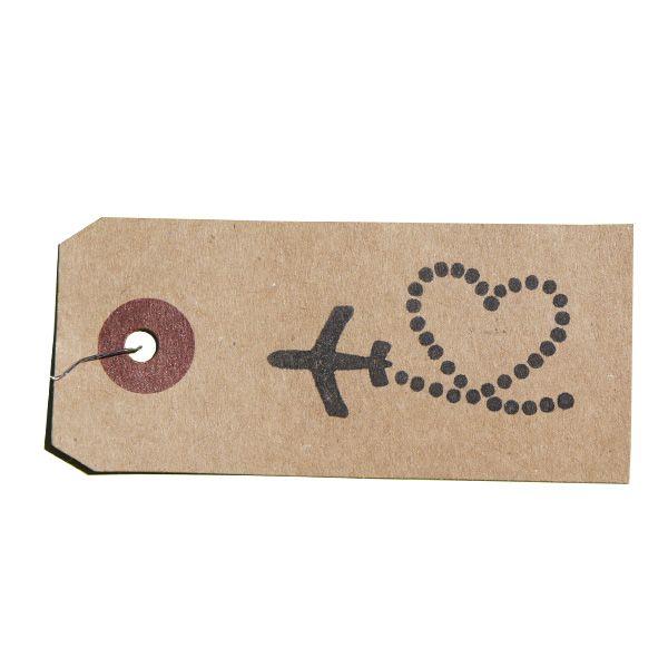 tampon en bois avion trainée coeur spécial mariage sur étiquette kraft