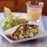 Heart healthy Eggs and Canadian Bacon in Pita Pockets