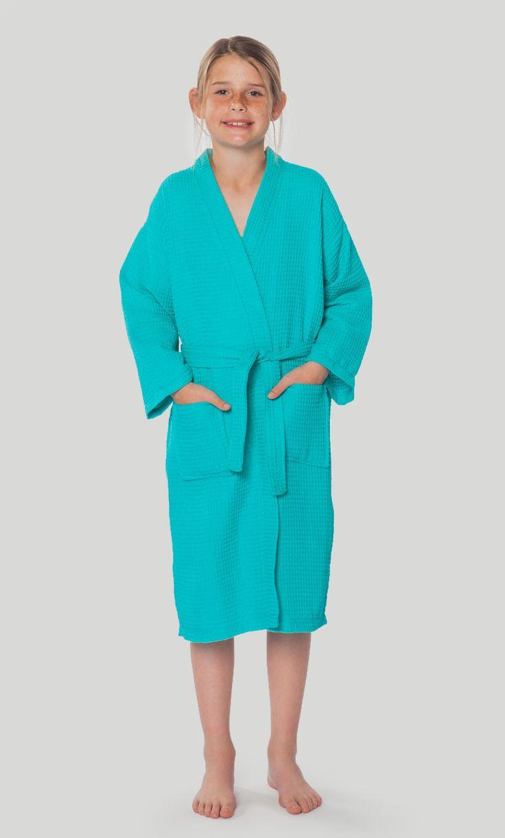 Kids Bathrobes :: Waffle Kids Bathrobes :: Turquoise Waffle Kimono Kid's Robe - Wholesale bathrobes, Spa robes, Kids robes, Cotton robes, Spa Slippers, Wholesale Towels