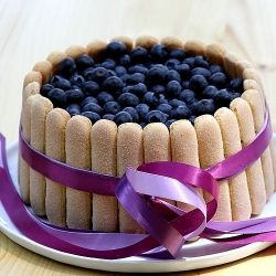Blueberry Charlotte Cake: Vanilla cake with blueberry mousse, lady fingers and lots and lots of fresh blueberries