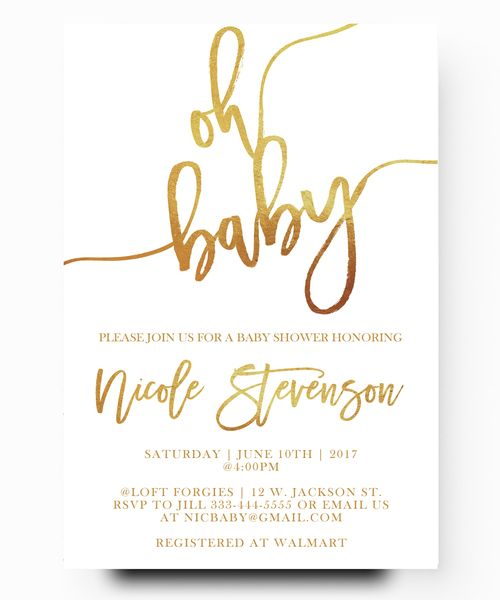 Oh Baby, Gold Foil Baby Shower Invitation