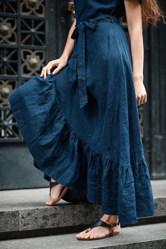Summer Linen Dress, Dark Blue Dress, Summer Dress in Boho Style, Blue Linen Dress, Boho Dress, Feminine Dress, Navy Dress, Linen Clothing