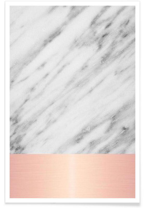 Carrara Marble Pink Edition en Affiche premium par cafelab   JUNIQE