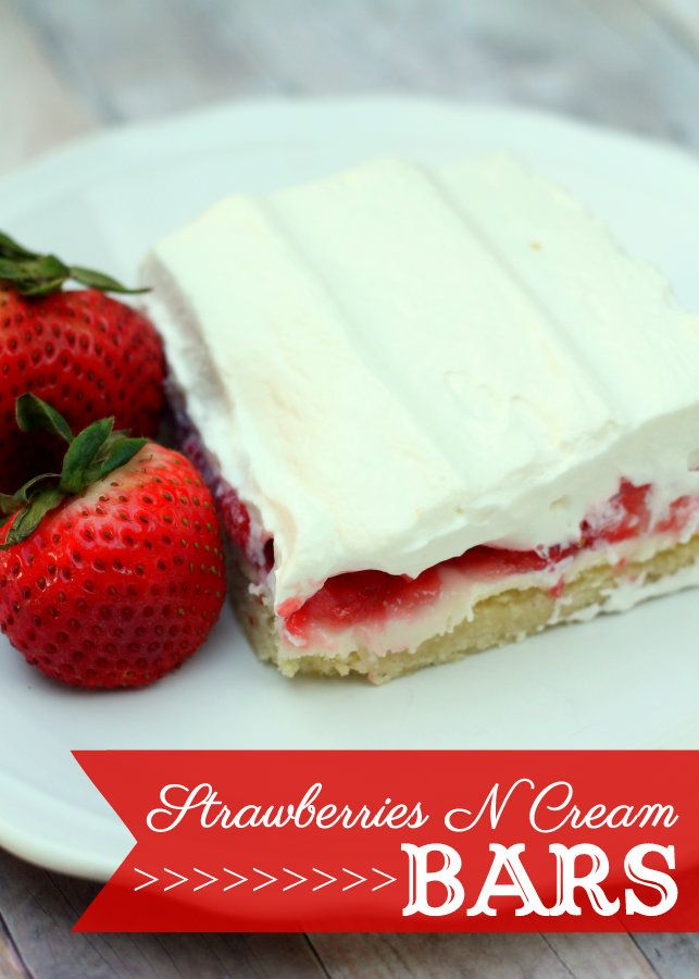 Strawberries N Cream Bars with a sugar cookie crust. DELISH! 60 Fruity Dessert Recipes!