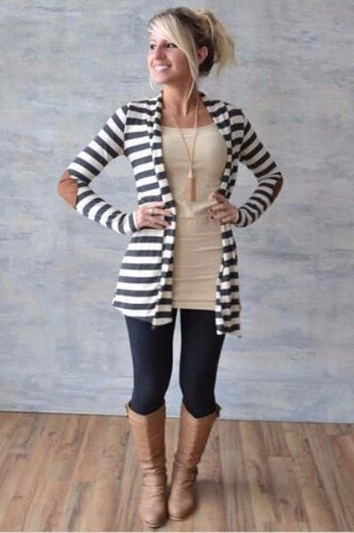 Beautiful basic charcoal striped cardigan with super cute elbow patches that added a touch of fall! Super comfy and soft and looks great. Length from shoulder