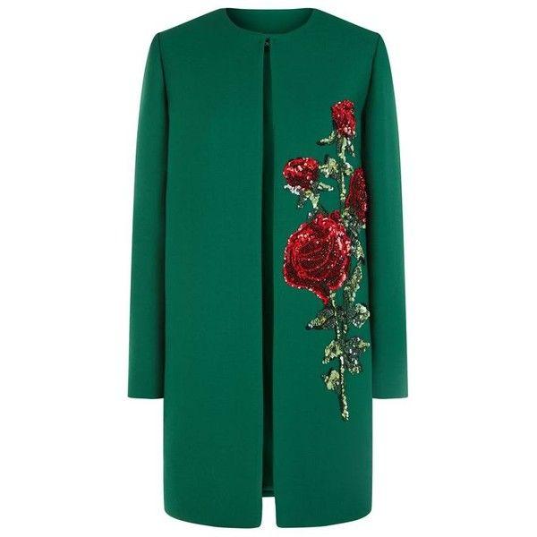 Dolce & Gabbana Embellished Rose Coat found on Polyvore featuring outerwear, coats, embellished coat, sequin coat, dolce&gabbana, dolce gabbana coat and evening coat