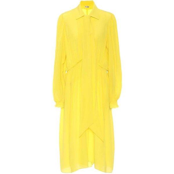Balenciaga Silk Crêpe Dress (2 850 AUD) ❤ liked on Polyvore featuring dresses, yellow, balenciaga, yellow silk dress, yellow dress, crepe dress and silk dress