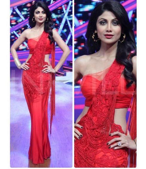 Shilpa Shetty In A n Pearl embroidered Red Lehenga Sari