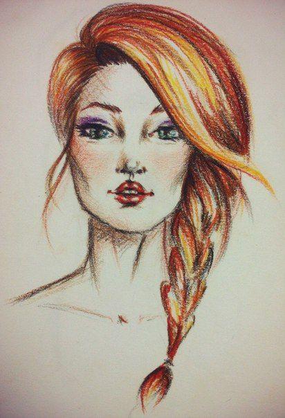 Портрет, рыжая девушка, акварельные карандаши
