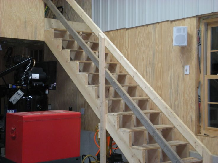 Garage stair railing ideas gargage loft stairs ideas the garage journal board hangar - How to build a garage cheaply steps ...