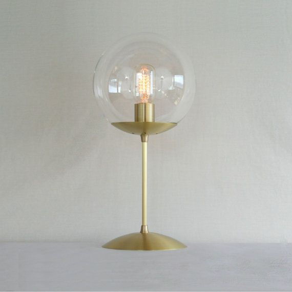 "Mid Century Modern Table Lamp 8"" Clear Globe - The Orbiter 8 Table Lamp"