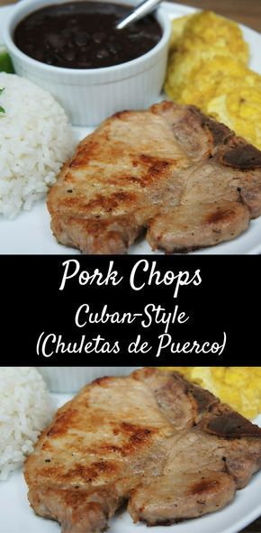 Chuletas de Puerco (Cuban-style pork chops) – These thin-cut pork chops cook up super quick and are very flavorful. We season them Cuban-style, with garlic powder, cumin, oregano and salt and pepper. Then we squeeze some fresh lime juice over them and let them marinate for just a few minutes to add great flavor. Serve the pork chops with white rice and black beans for a filling and delicious meal.