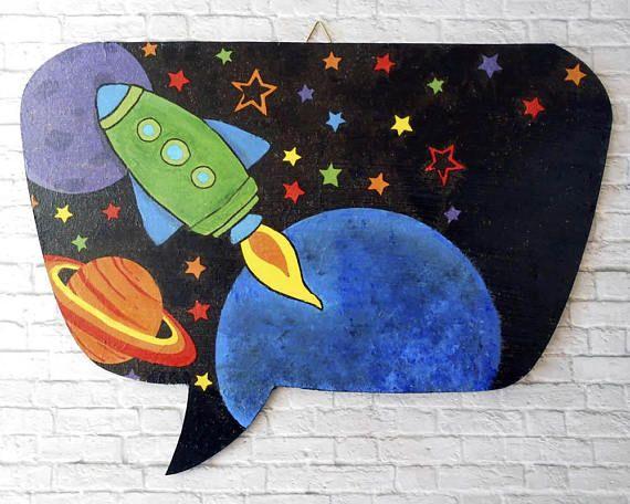 Space Nursery Decor  Playroom Sign  Rocket Ship Decor  Boys