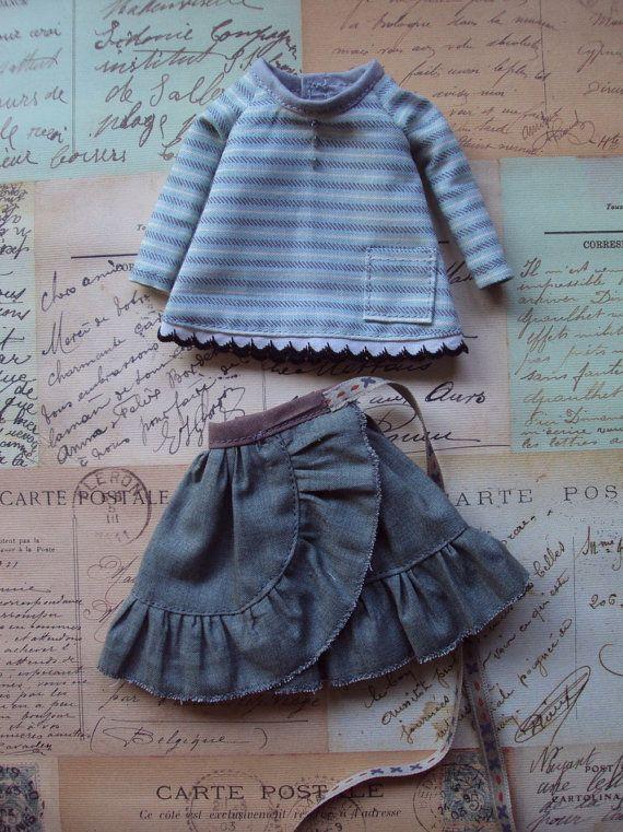 Wraparound skirt and trapeze blouse set for par moshimoshistudio