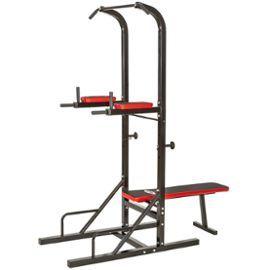 Banc De Musculation Pliable Multifonction Dips, Barre De Traction, Banc D'haltère, Station De Musculation Noir Et Rouge Tectake