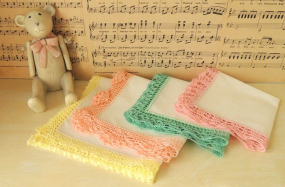 4 Crochet Vintage Handkerchiefs Hankies Hankerchiefs Wedding
