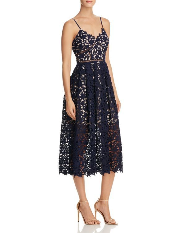 Aqua Lace Cami Midi Dress | Polyester; lining: polyester | Hand wash | Imported | V-neck, adjustable spaghetti straps, allover lace overlay  | Ladder-stitch trim, gathered illusion skirt, contoured he