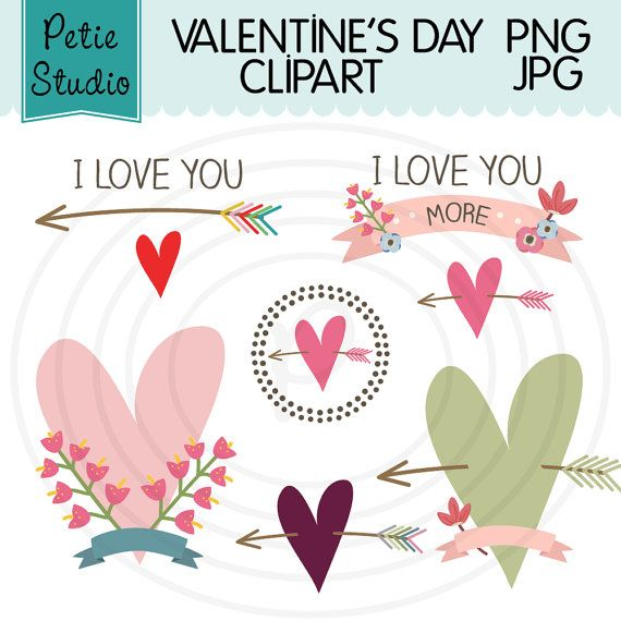 Valentines Day Clipart with Hearts and Flowers - EV109
