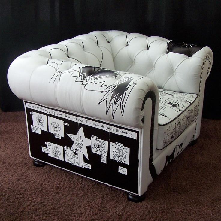 Stripstoel van Annie Warhoofd  www.anniewarhoofd.nl