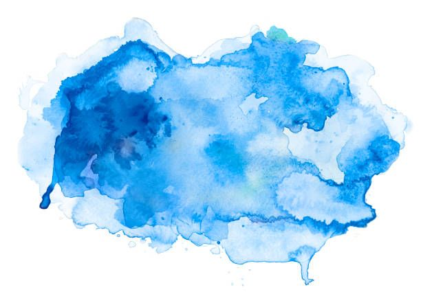 Blue Abstract Watercolor Spot On White Watercolor Paper My Own