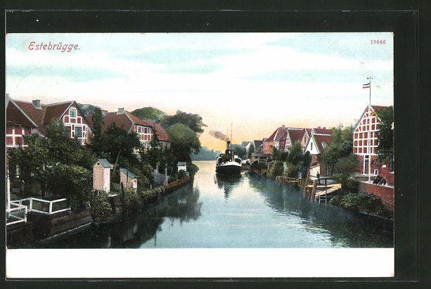 Alte Ansichtskarte: AK Estebrügge, Blick vom Fluß auf das Ufer