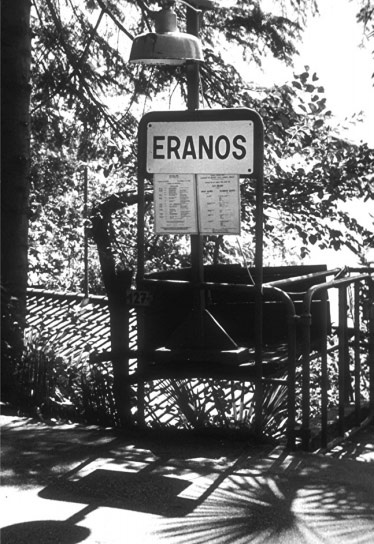 Eranos presented a modest image to the public. From the road, this sign is the only visible indication of the Eranos foundation. A little bulletin board just below the Eranos sign contained a copy of the current year's conference schedule.