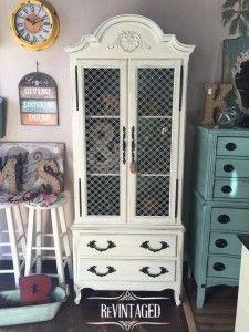 Shabby Chic Refinished Henredon Vintage China Cabinet Hutch