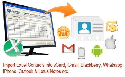 Import Excel contacts list into multiple platforms like (Gmail, Outlook, iCloud, iPhone, Nokia, Micromax, Android, Whatsapp, lotus notes and Windows live mail) etc.