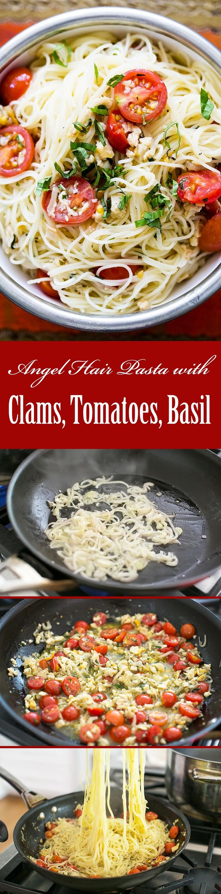 Angel Hair Pasta with Clams, Cherry Tomatoes, and Basil ~ Perfect for summer! Angel hair pasta with shallots, garlic, chopped clams, cherry tomatoes, and basil ~ SimplyRecipes.com