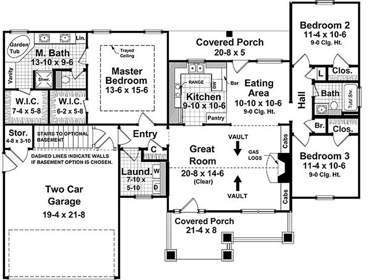 Craftsman Style House Plan - 3 Beds 2 Baths 1509 Sq/Ft Plan #21-246 Floor Plan - Main Floor Plan - Houseplans.com