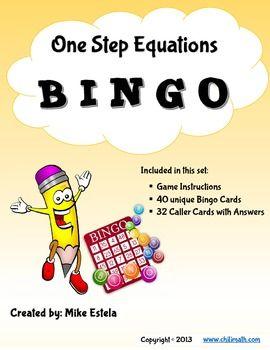 *** FREEBIE *** One Step Equations: Bingo Game!
