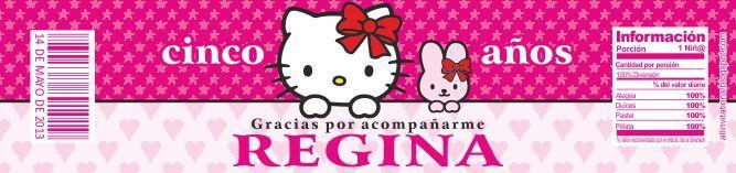 All Invitations: Etiqueta Botella Hello Kitty