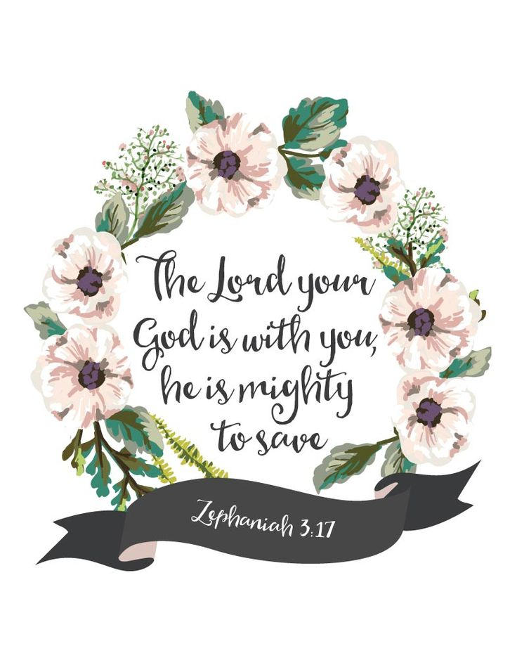 $5.00 Bible Verse Print - The Lord your God is with you, he is mighty to save…