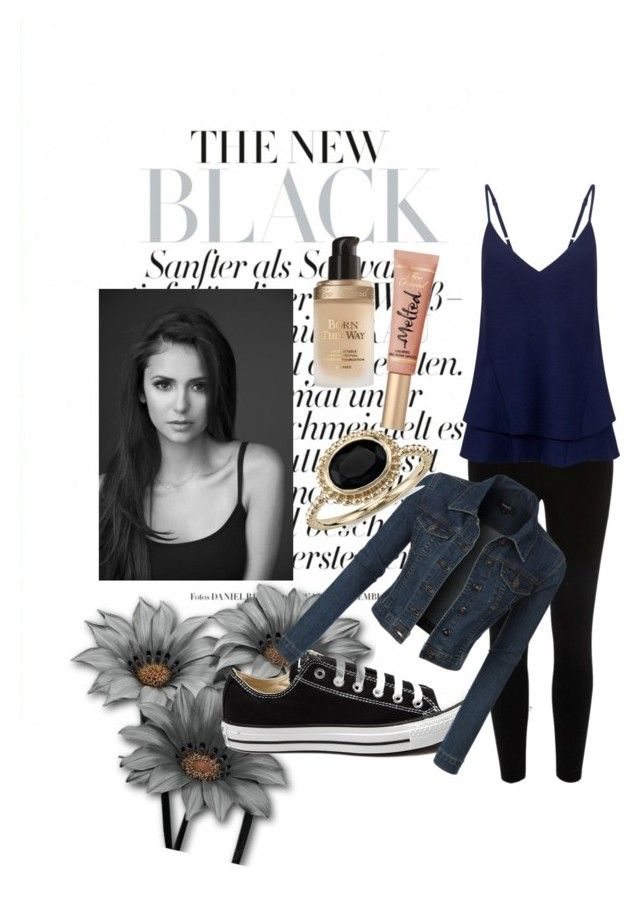 """Vampire Diaries Inspired"" by emma-katexx on Polyvore featuring River Island, Converse, LE3NO, C/MEO COLLECTIVE, Blue Nile, Too Faced Cosmetics, women's clothing, women, female and woman"