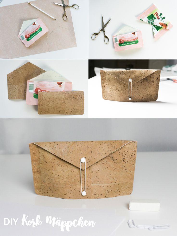 DIY Upcycling Kork Mäppchen | Tasche ohne Nähen no sewing | Täschchen | Korkstoff | basteln mit Kork | Idee | Tutorial | Cork Crafts | Crafting | Recycling | Selbstgemacht | Geschenke | Desk Organisation Office | Arbeitsplatz | Schreibtisch