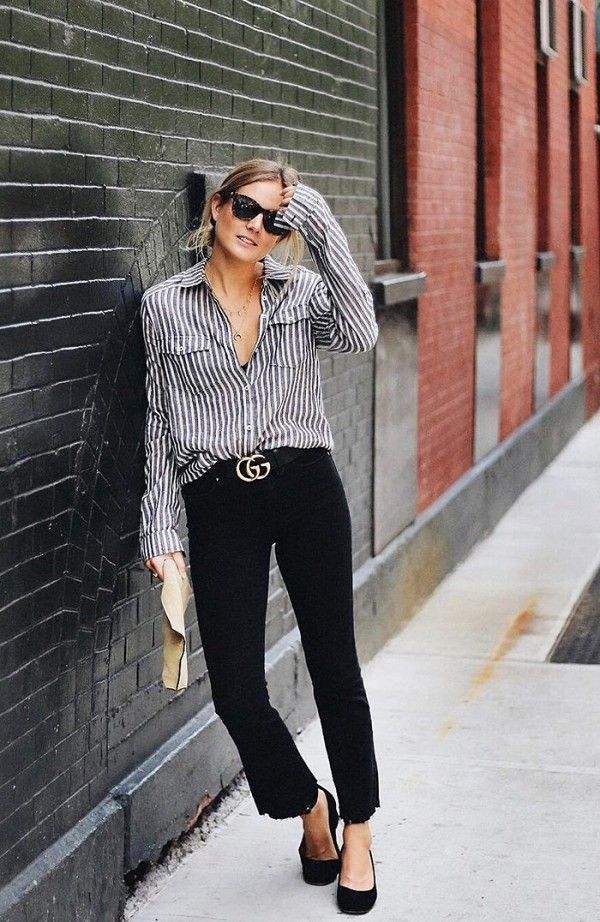 A striped button down is elevated with a chic buckled belt
