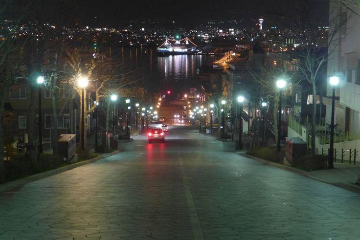 night view from  famous slope at Hakodate city Hokkaido, Japan