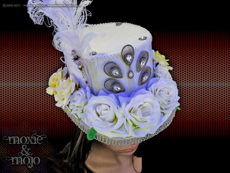 Burning Man Hat, light up hat, white roses, custom burningman hat, Mad Hatter Top Hat, LED Hat, Burning Man, Victorian hat by MoxieandMojoFashion on Etsy