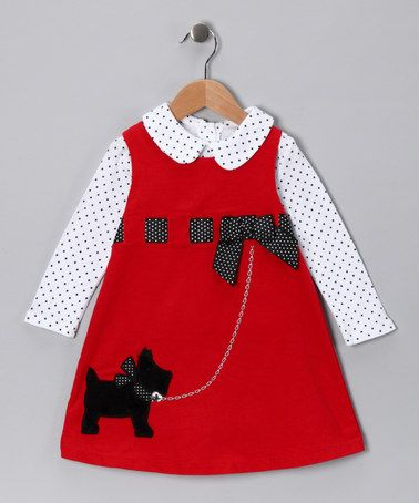 Take a look at this Red Scotty Ribbon Corduroy Jumper - Toddler by Gerson & Gerson on #zulily today!