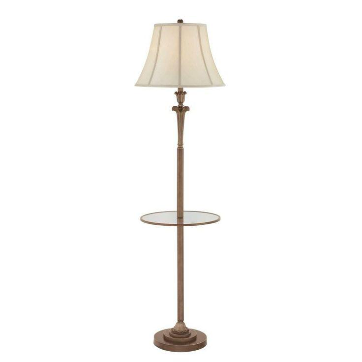 Quoizel one light palladian bronze biege softback shade shade floor lamp bright light design