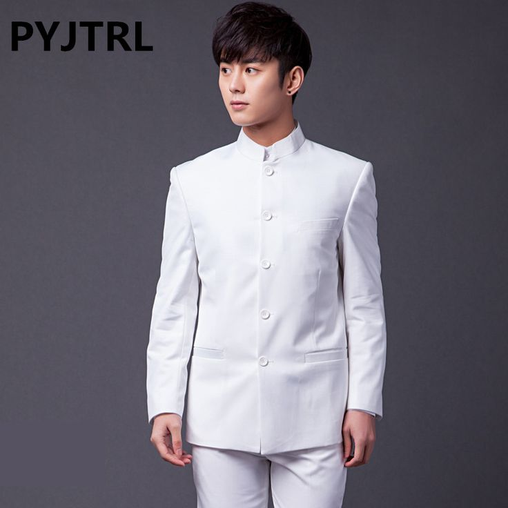 Cheap suit track, Buy Quality suit jumper directly from China jacket 2012 Suppliers: PYJTRL (Jacket+Pants) Brand Plus Size Men Two-piece Classic White Chinese Tunic Suit Black Gray Navy Groom Wedding Suits For Men