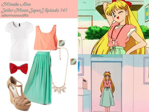 Minako inspired clothing. I think this would be a cute outfit, but I couldn't wear the red bow without looking 12.