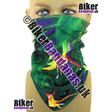Tropical Forest and Flowers Multifunctional Headwear / Neck Tube Bandana - one of over 400 neck tube styles for men and women
